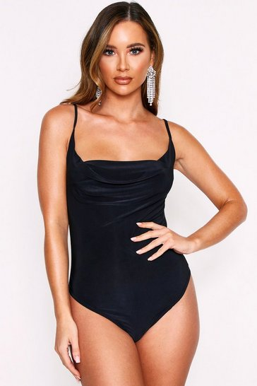 Black Slinky Strappy Bodysuit