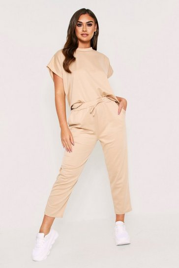 Camel Short Sleeve Boxy Loungewear