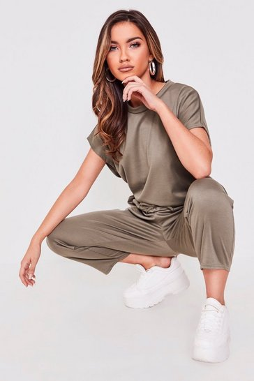 Womens Khaki Sara Short Sleeve Boxy Loungewear