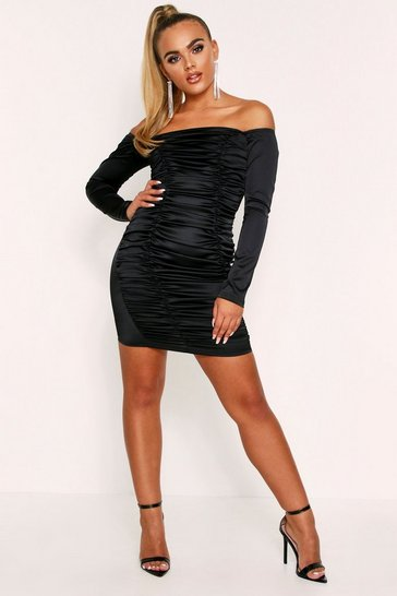 Black Ruched Bardot Satin Dress