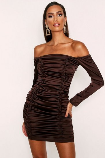 Womens Chocolate Ruched Bardot Satin Dress