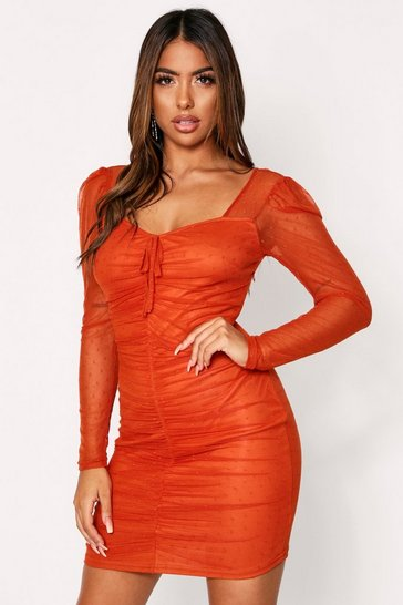 Womens Rust Mesh Doby Spot Ruched Dress Mini