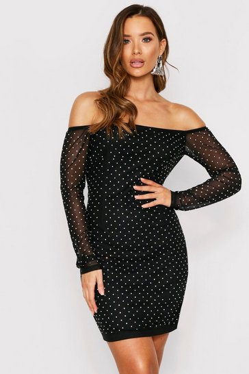 Black All Over Gem Mesh Off Shoulder Dress