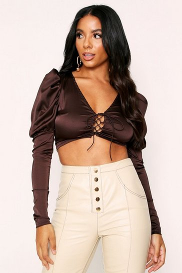 Womens Chocolate Puff Sleeve Peasant Tie Tee