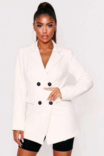 Womens White Double Breasted Tailored Blazer
