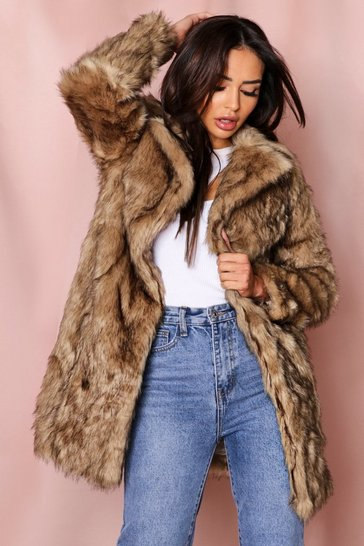 Natural Faux Fur Coat