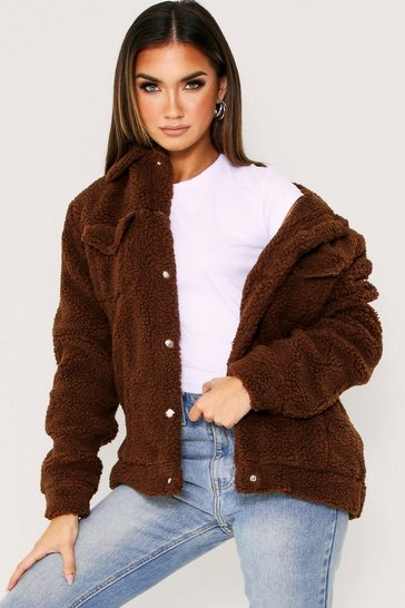 Womens Brown Borg Trucker Jacket