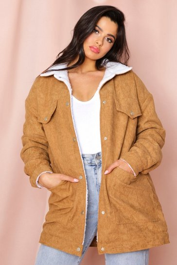 Camel Borg Lined Oversized Cord Trucker Jacket