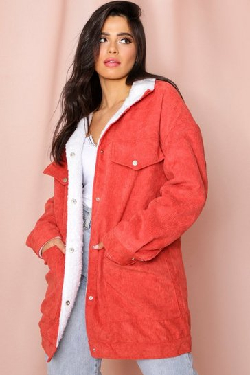 Womens Rust Borg Lined Oversized Cord Trucker Jacket