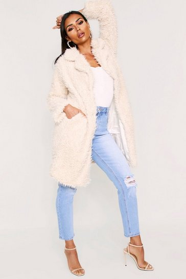 Womens Cream Shaggy Faux Fur Look Coat