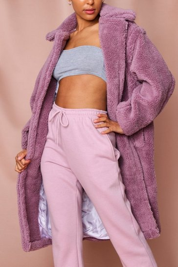 Lilac Shaggy Faux Fur Look Coat