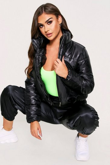 Womens Black High Shine Crop Puffer Jacket