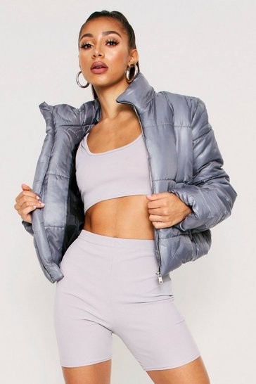 Womens Dark grey High Shine Crop Puffer Jacket