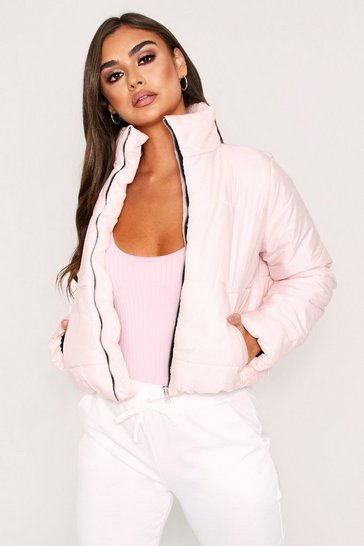 Womens Nude High Shine Crop Puffer Jacket