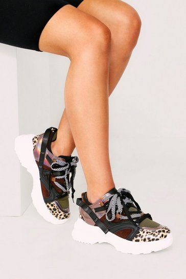 Womens Coffee Leopard Metallic chunky Trainer