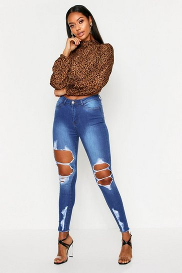 Womens Mid wash Exposed Rip Distressed Skinny Jeans