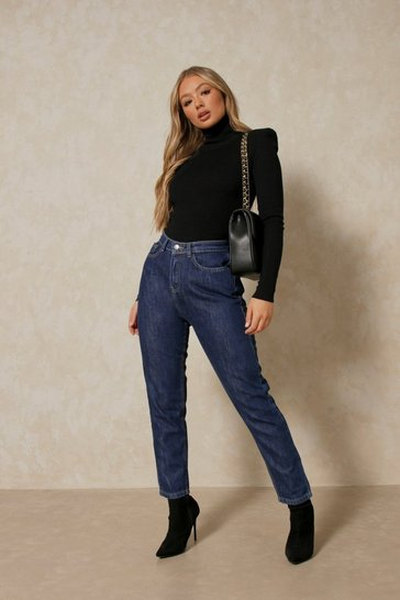 Dark blue High Waisted Straight Leg Jeans