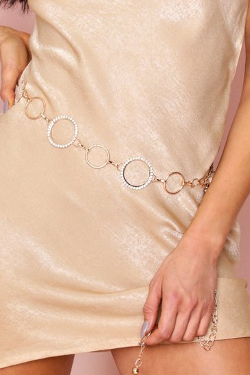 Womens Gold Circle Chain Belt