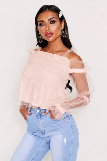 Womens Pink Tie Shoulder Mesh Top