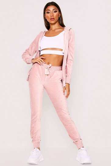 Womens Pink Co-Ord Hooded Loungewear Set