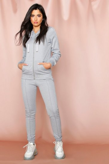 Grey Metallic Side Stripe Hooded Set