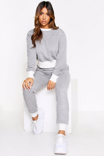 Womens Grey Contrast Trim Knitted Set