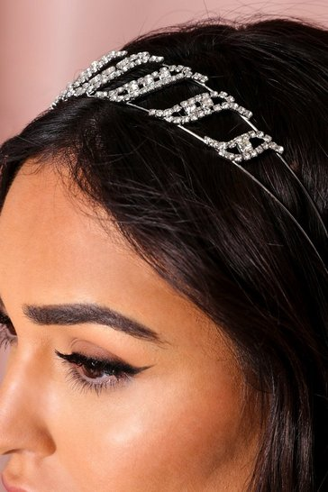 Silver Jewel Embellished Clear Headband
