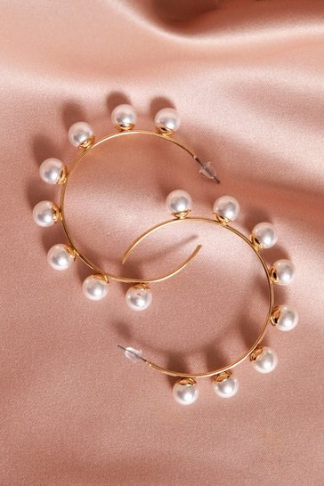Womens Gold Pearl Detail Hoop Earrings