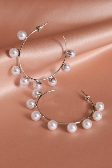 Womens Silver Pearl Detail Hoop Earrings