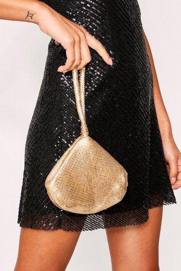 Womens Gold Beaded Wrist Bag