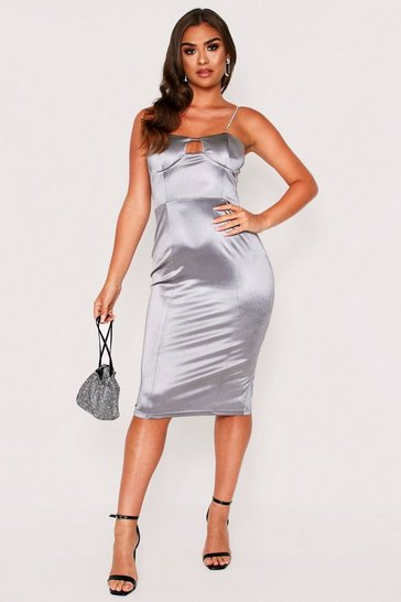 Womens Silver Diamante Strap Bodice Stretch Satin Midi Dress