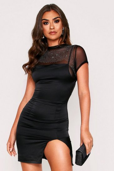Womens Black Diamante T-Shirt Satin Slip Mini Dress