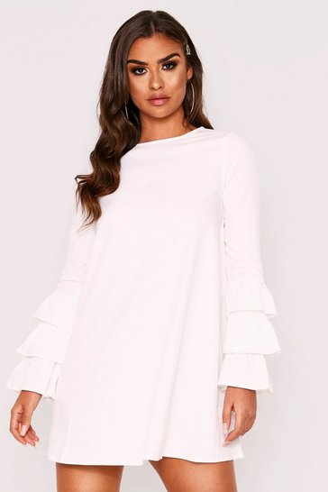 Womens Ivory Dobby Frill Sleeve Shift Dress