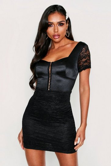 Womens Black Satin Mix Lace Mini Dress