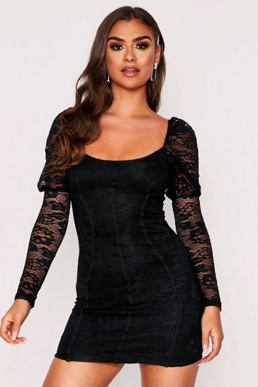 Womens Black Long Sleeve Mini Peasant Lace Dress