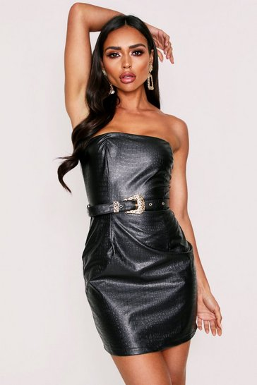 Womens Black Crop Leather Look Belted Mini Dress