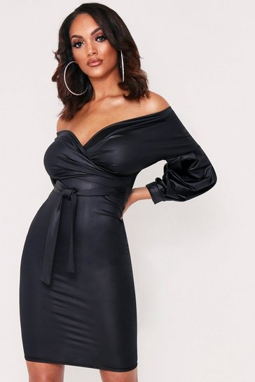 Womens Black Wet Look Off The Shouler Wrap Midi Dress