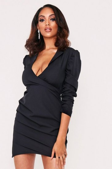 Black Ruched Fitted Shirt Style Dress