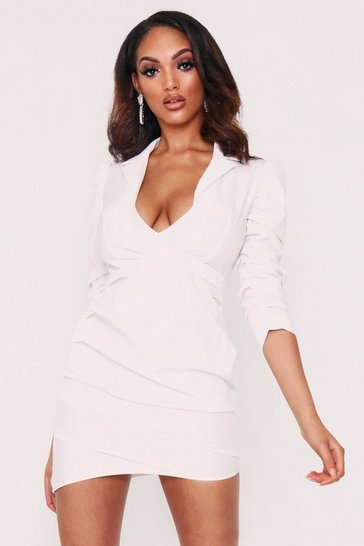 Womens White Ruched Fitted Shirt Style Dress