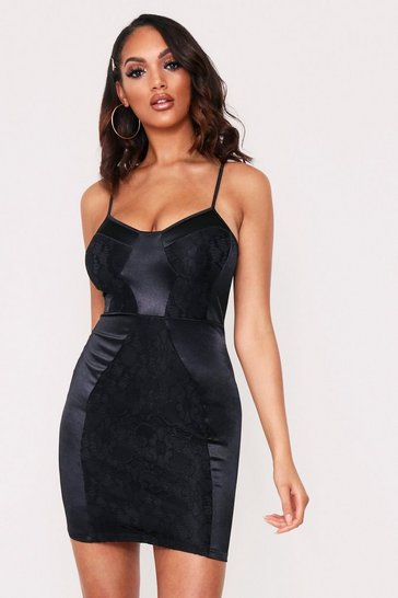 Womens Black Mini Lace Satin Dress