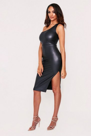 Black leather look One Shoulder Midi Dress