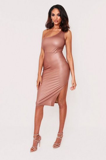 Womens Tan Faux Leather One Shoulder Midi Dress