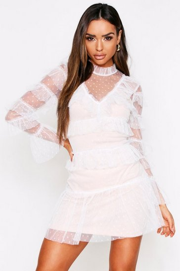 Womens White Dobby Polka Dot Mesh Layered Mini Dress