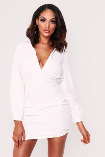 Womens White Plunge Front Ruched Shirt Dress