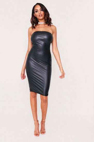 Womens Black Faux Leather Bandeau Midi Dress