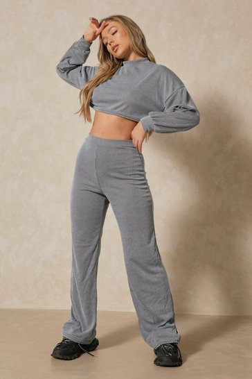 Blue Acid Wash Wide Leg Lounge Set
