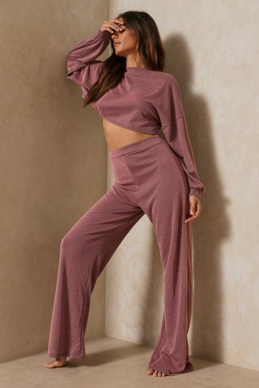 Pink Acid Wash Wide Leg Lounge Set