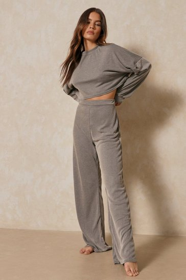 Stone Acid Wash Wide Leg Lounge Set