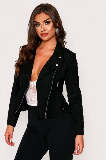 Womens Black Suedette Biker Jacket