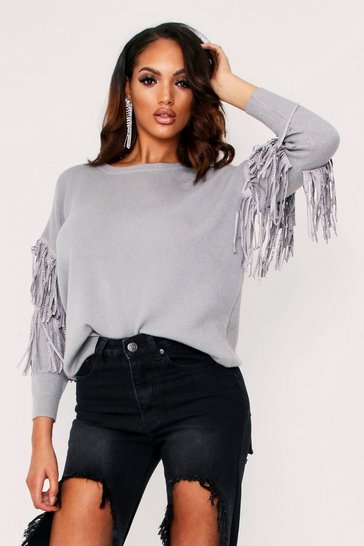 Womens Grey Embellished Sleeve Knitted Jumper